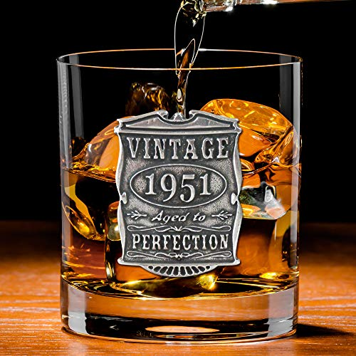 English Pewter Company Vintage Years 1951 70th Birthday or Anniversary Old Fashioned Whisky Rocks Glass Tumbler - Unique Gift Idea For Men [VIN001]