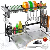 Dish Drying Rack Over Sink, iBesi Stainless Steel Sturdy Dishes Drainer Space Saver Supplies Storage Shelf with Utensils Holder for Kitchen Sink Tableware Countertop(Sink Size≤33in)