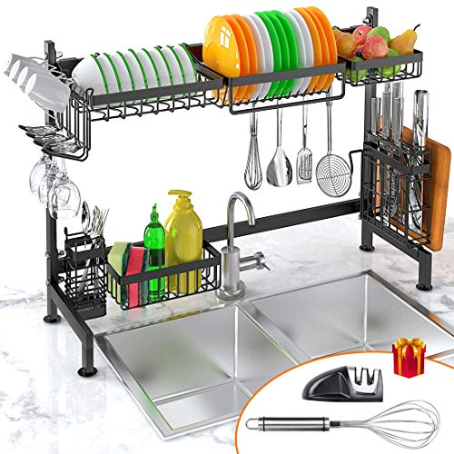 Dish Drying Rack Over Sink, iBesi Stainless Steel Sturdy Dishes Drainer Space Saver Supplies Storage Shelf With Utensils Holder for Kitchen Sink Tableware Countertop(Sink Size≤33.5in)