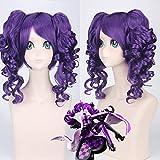 Peluca de Cosplay de Anime Alice Wonderland, peluca sintética rizada púrpura con coletas, pelucas de disfraz de fiesta de reina de corazones Pl-051
