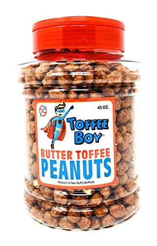 Toffee Boy's Butter Toffee Peanuts - 45 Oz Jar - Family Recipe, Fresh and Hand Cooked, Gluten Free, Real Ingredients, No Preservatives, The PERFECT Holiday Gift