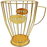 Fisecnoo - Cesto porta capsule con base in ferro per tazza, frutta, snack e oggetti, multiuso, per caffè, caffè, hotel, colore: oro