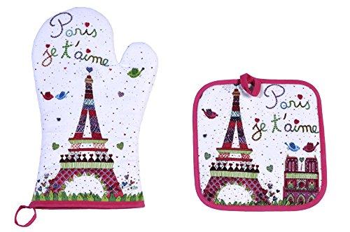 FoxTrot 8780AIME Gant et Manique Paris Je T'Aime Coton Multicolore 20 x 20 cm