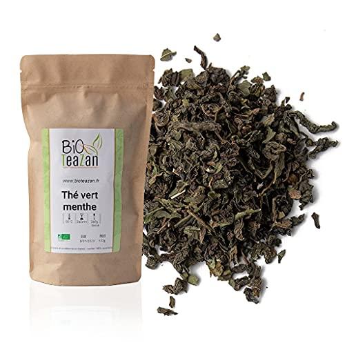 Bioteazan-Thé vert menthe bio-sachet 100g-fabriqué en France-*gunpowder*menthe poivrée*huile essentielle