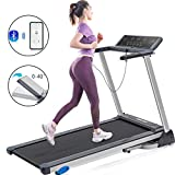 Folding Treadmill for Home Use, Easy Assembly Compact Running Machine with Bluetooth Speaker and Incline