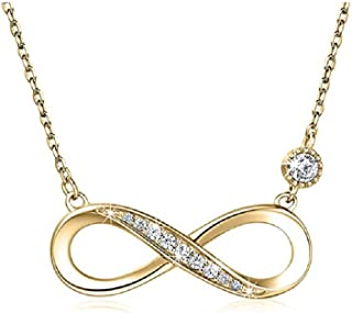 Sterling Silver Forever Love and Infinity Pendant Gold Plated Diamond Necklace