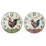 By SIGRIS Reloj Pared Gallo 34Cm Incluye 2 Unidades Adorno Pared Relojes Colección Rústico Signes Grimalt Decor And Go