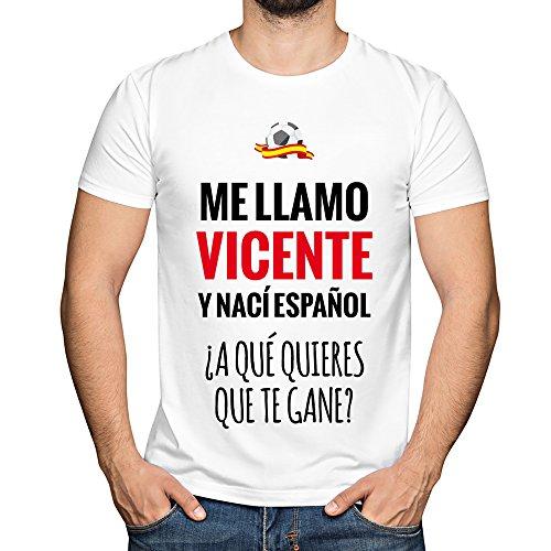 Camiseta Personalizada con Nombre y la Frase 'Nací español a qué Quieres Que te Gane' (Blanco)