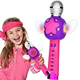 ezbnb Karaoke Microphone for Kids Karaoke Wireless Bluetooth Toys with Speaker Recording Magic Voice and Disco Dancing Light Girl Home Party Best Singing Birthday for Girls Age 3 4 5 6 7 8 9+