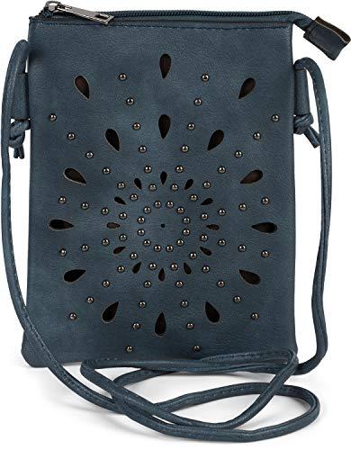 styleBREAKER Damen Mini Bag Umhängetasche mit Cutouts in Ethno Blumen Form und Nieten, Schultertasche, Handtasche, Tasche 02012304, Farbe:Jeansblau