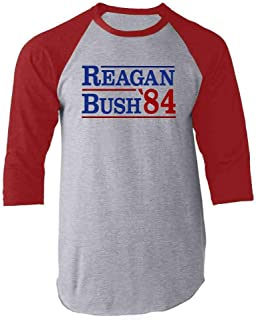 Ronald Reagan George Bush 1984 Campaign Raglan Baseball Tee Shirt