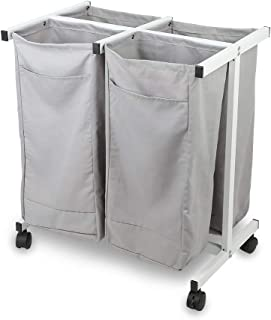 JEFEE Laundry Sorter Cart kaundry Sorter Divided Hamper with Heavy Duty Rolling Wheels, Heavy Duty 4 Bag Waterproof Laundry Sorter Cart for Clothes Storage, Gray
