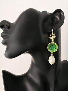 Orecchini Pendenti con Giada Verde e Perle Barocche