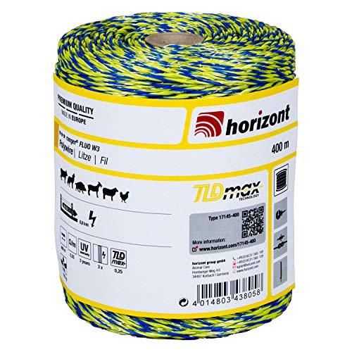 horizont Weidezaunlitze ranger® FLUO W3, 400 m lang, gelb blau grün, 3x 0,25 mm TBmax-Leiter, 160 kg Bruchlast, für Mittlere bis lange Zäune, Weidezaunband, Breitband Litze, Elektrozaun