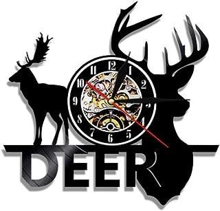 GYJCD Woodland Deer Hunter Clock Forest Wild Moose Head Vinyl Record Reloj De Pared Deer Antlers Reloj Decorativo Wall Art...