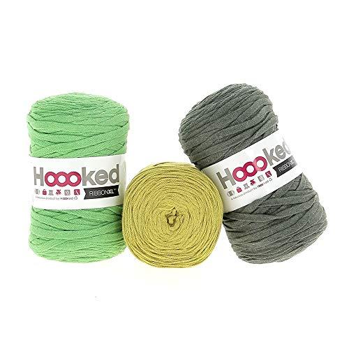 Hoooked RibbonXL Sparset aus 3 Rollen je 120 Meter Riesen-Textilgarn aus recycelter Kleidung in Herborium Green
