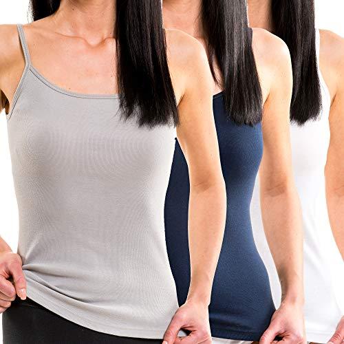HERMKO 1560 3er Pack Damen Träger Top aus 100% Baumwolle, Größe:44/46 (L), Farbe:Mix w/m/g