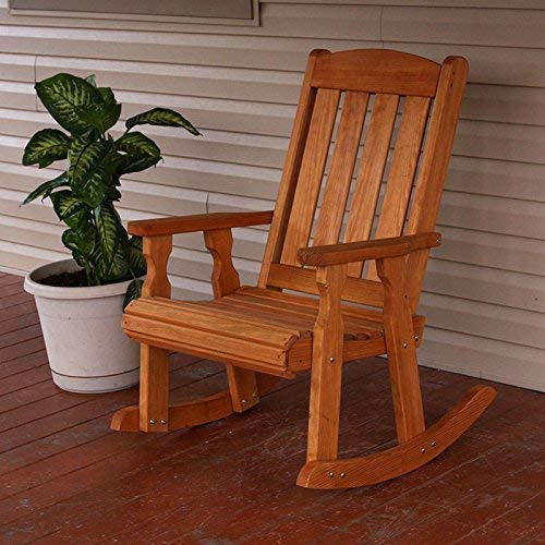 Amish Heavy Duty 600 Lb Mission Pressure Treated Rocking Chair (Cedar Stain)