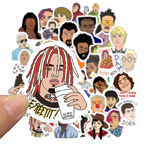 50pcs Hip Hop Rapper DJ Graffiti Stickers DIY Teléfono Laptop Equipaje Maleta Guitarra Skateboard Calcomanía Pegatinas Niños Juguete clásico, 10pcxs Pegatinas