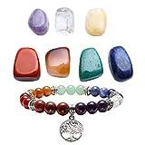 Top Plaza 7 Chakra Reiki Healing Crystals Yoga Balance Irregular Shape Polished Tumbled Palm Stones W/ 7 Chakra Healing Crystal Bracelet (Tree of Life)