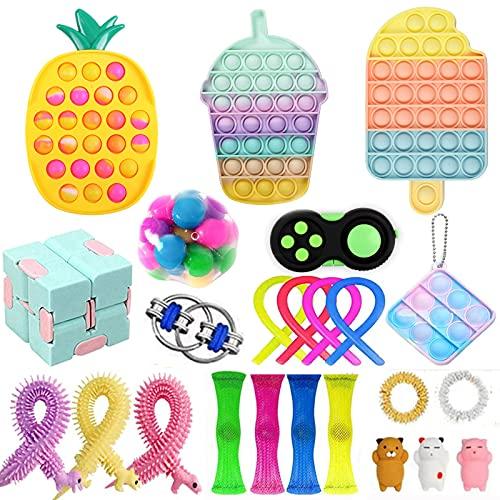 Juego de juguetes para fidget sensoriales, juguetes para fidget baratos, paquete de fidget con simples hoyuelos Push Pop Bubble para niños adultos ADHD ADD autismo estrés ansiedad (9 #)