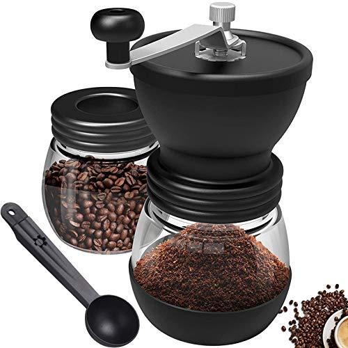 Kaffeemühle Manuell Keramikmahlwerk, Tragbare Handkaffeemühle mit Einstellbaren Keramikgraten, Zwei Gläser, Silikonlöffel und Reinigungsbürste