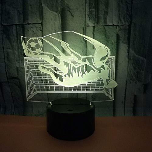 Lámpara LED 3D con USB, diseño de fútbol, multicolor, para dormitorio, iluminación nocturna, cable de iluminación para niños, regalo para casa, fiesta, decoración para el salón