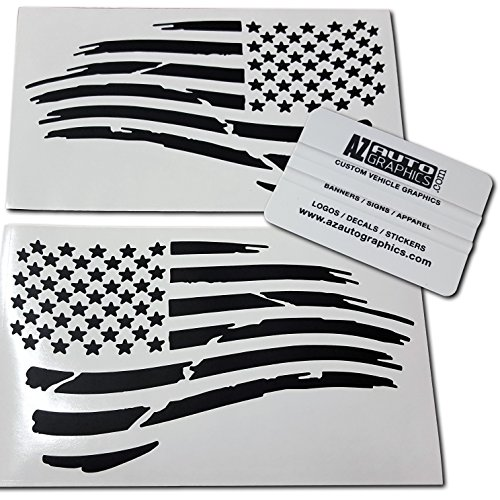 Az AutoGraphics Pair Distressed USA American Flag Decal Die-Cut Grunge Subdued Tattered Military (Matte Black)