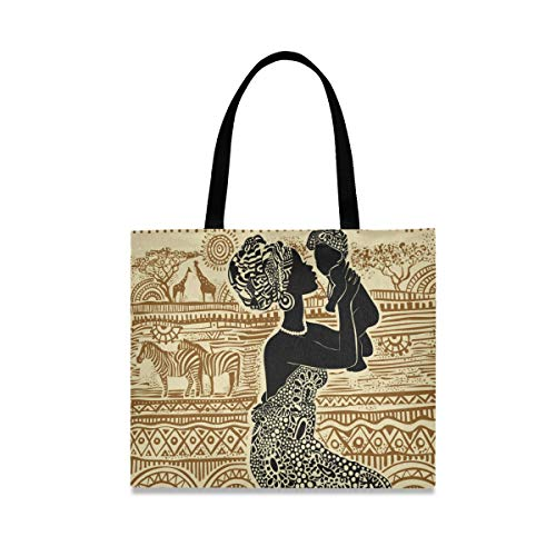 QMIN - Bolsa de lona para mujer africana, reutilizable, lavable, bolsa de hombro, bolsa de mano de gran capacidad para mujeres y hombres