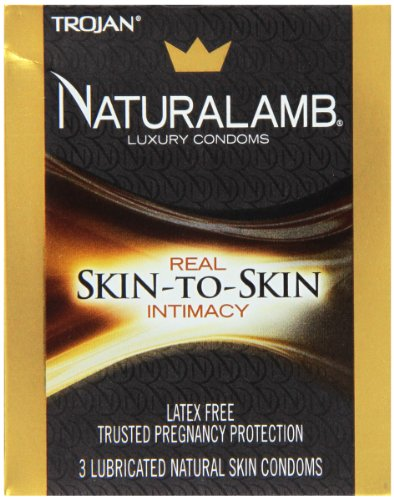 Trojan Naturalamb Condom Lubricated Natural Skin, 3 Count, Pack of 2