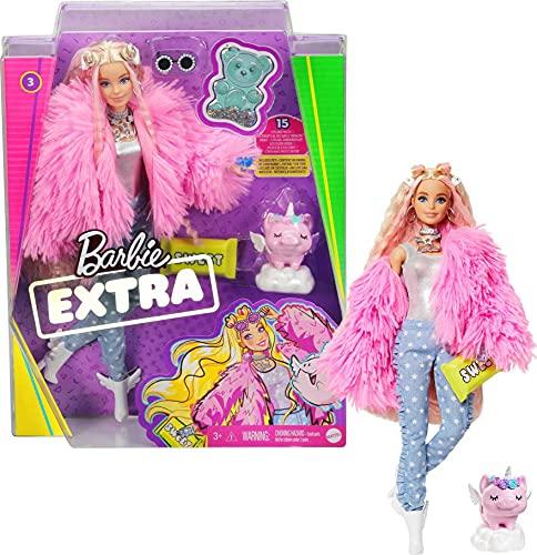 Barbie GRN28 - Barbie Extra Puppe (blond) mit flauschiger rosa Jacke