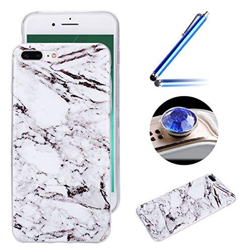 Etsue pour [ iPhone 7 Plus ] Doux Protecteur Coque,TPU Matériau Frame est Transparent Soft Cover pour iPhone 7 Plus,Marbre Motif par Dessin de Mode Case Coque pour iPhone 7 Plus + 1 x Bleu stylet + 1 x Bling poussière plug (couleurs aléatoires) - Blanc