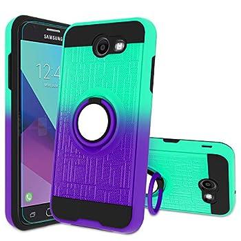 Galaxy J3 Emerge/J3 Mission/J3 Eclipse/J3 Luna Pro/Amp Prime 2/J3 Prime/Express Prime 2 Phone Case with HD Screen Protector,Atump Ring Holder Kickstand Cover for Samsung J3 2017 Mint/Purple
