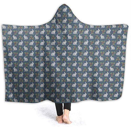 Dor675ser 40' x 52' Extra Soft Hooded Throw Blankets for Bed Couch Sofa, Adult Women Men Throw Wearable Cuddle Super Warm Flannel Fleece School Blankets Grey Rabbit