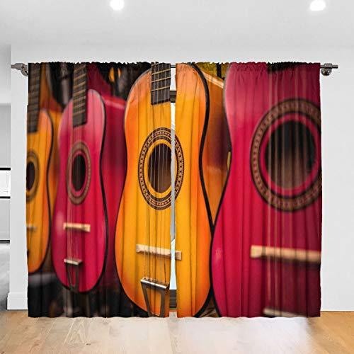 N/A Gitaar Muzikaal Instrument Kleur verduistering Pleat Kleurplaten Verduisterende Pleat Gordijnen Thermische Geïsoleerde Geluidsreducerende Gordijn Drapes Kamer Verduisterende Ooggordijnen