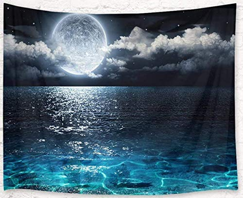 LB Moon Over Ocean Tapestry Night Sky Tapestry Wall Hanging 3D Fantasy Watercolor Tapestry Wall Art for Bedroom Living Room Dorm Home Decor, 60 x 40 Inches