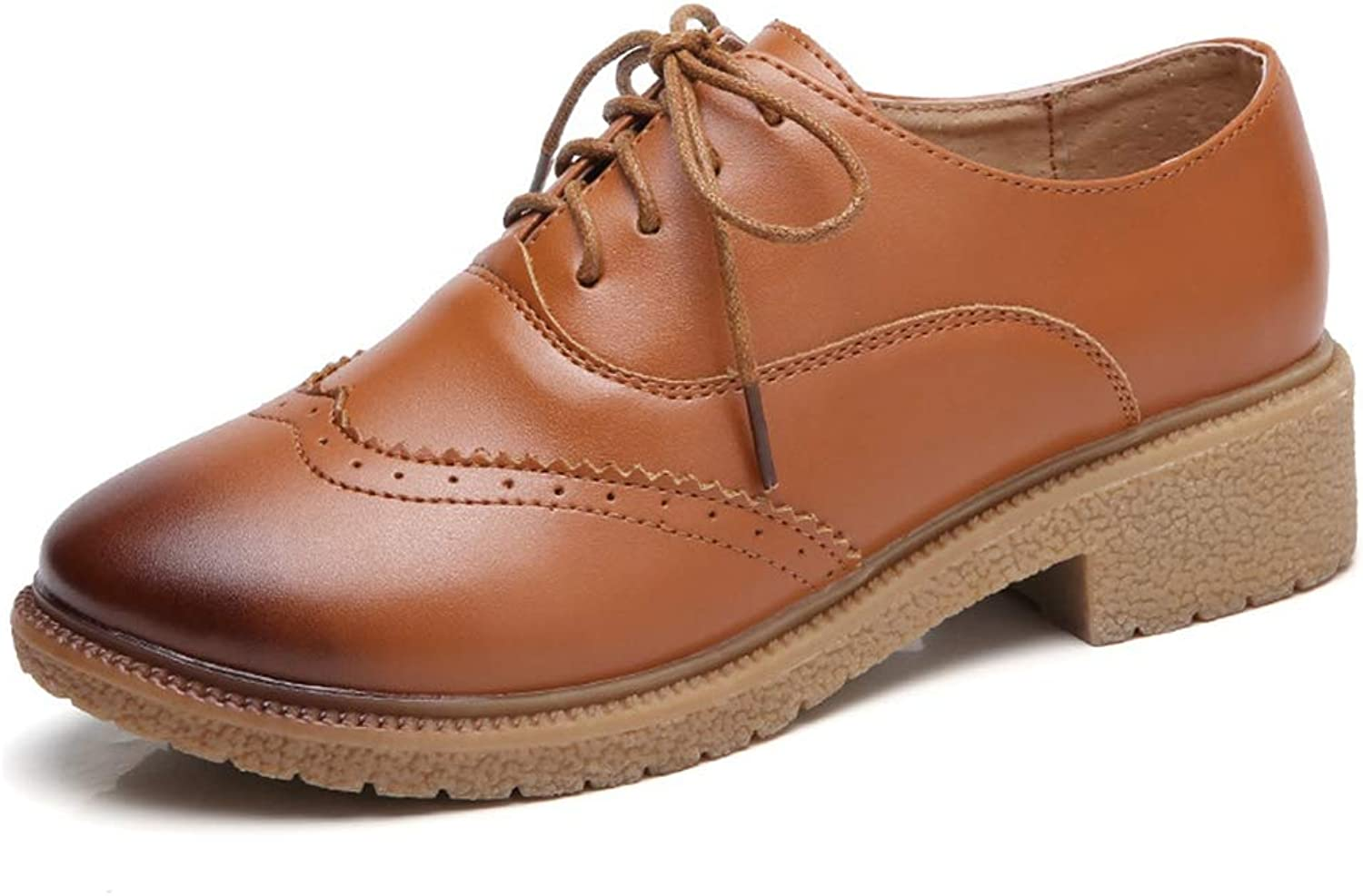 CYBLING Women's Lace-up Wingtip Leather Oxfords Flats Vintage Brogues Casual shoes