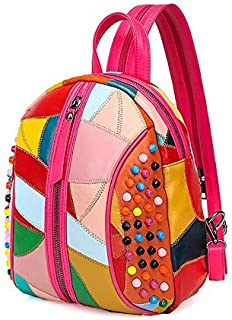 Bright colorful Genuine Leather backpack for women fashion lovely shoulder bag