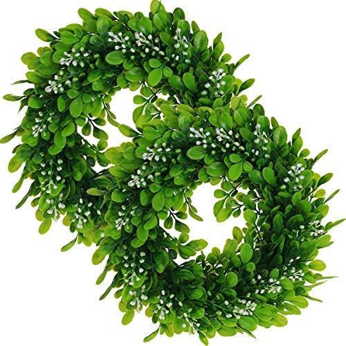 Baalaa Garland Door Decoration Artificial Boxwood Wreath Green Leaf Wreath,for Doors,Windows,Walls, Wedding Parties,Home Decor