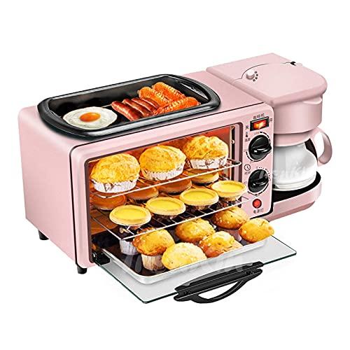Máquina De Desayuno Multifuncional Mini Horno Multifunción Máquina De Desayuno Tres En Uno - Parrilla Eléctrica Portátil Pequeña De 9L - Control De Temperatura Ajustable, Temporizador - 650W
