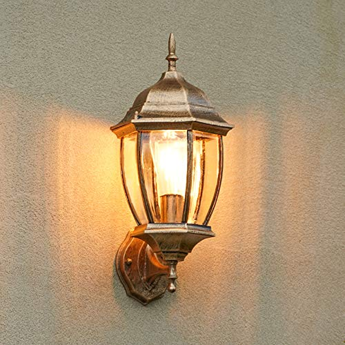 LGOO1 Lámpara de pared para exteriores de estilo retro europeo, balcón impermeable, jardín, linterna exterior, pasillo americano, escalera, luz de pared, moderna granja, a prueba de óxido, porche, par