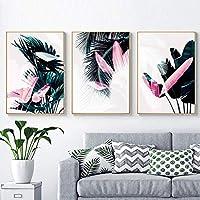 モダントロピカルリーフダークグリーン北欧キャンバス絵画印刷ポスターPOPウォールアート写真リビングルームホームデコラティブ-70x90cmx3フレームなし