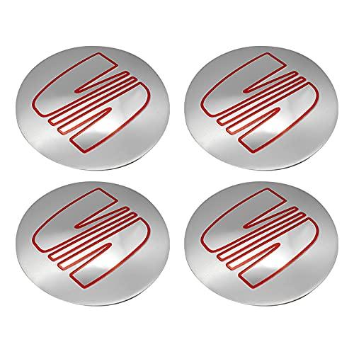 Tapas De Cubo De Centro De Rueda 56mm de rueda de automóvil central Caps Caps Emblem Cover Stickers Compatible con Seat Leon Mk3 Ibiza Ateca Opel Astra H Kia Sportage Cerato Accesorios Cubierta centra
