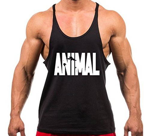 Volon Tanktop Herren Fitness Unterhemd Tankshirt Animal Tops Sport Shirt Trägershirt Sommer Männer Bodybuilding Oberteile Tank Gym Baumwolle,XL,Schwarz