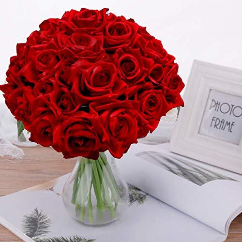 Pauwer Künstliche Deko Blumen Gefälschte Blumen Seidenrosen Plastik 2 Pcs 18 Köpfe Braut Hochzeitsblumenstrauß für Haus Garten Party Blumenschmuck (Rot, 2 PCS)