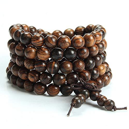 Epoch World 8MM Gioielli Braccialetto Perle di Legno Bracciale Rosario Tibetano Buddista Elastico Collana bracciali 108 Perline Bracciale Uomo Donna