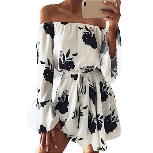 Yieune Sommerkleider Lange Ärmel Schulterkleid Blumenmuster Kurzes Strandkleid(Weiß-Schwarz XL)