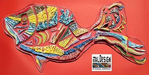 PEZ ARCO IRIS EN cerámica y resina de policarbonato. Escultura de la pared en el arte moderno FIRMADO ITALDESIGNFOGLIARO