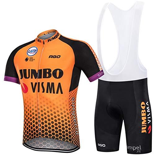 PGONE Herren Radfahren Jumbo VISMA Trikot Kurzarm Sommer PRO, Rennrad Racing Club Outdoor Fahrrad Trikot Anzug, Quick Dry Kompression Cycle Combo Set (Size : Large)