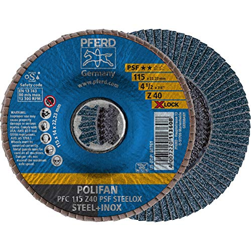 PFERD Fächerscheibe POLIFAN, 10 Stück, 115mm, Z40, X-LOCK (22,23 mm), PSF STEELOX, 67664116 – für hohe Wirtschaftlichkeit durch aggressive Zerspanung bei guter Standzeit